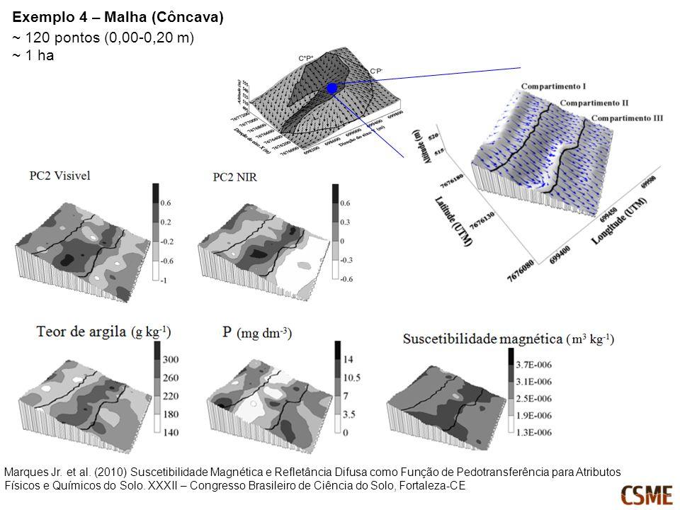 ~ 120 pontos (0,00-0,20 m) ~ 1 ha Marques Jr. et al. (2010) Suscetibilidade Magnética e Refletância Difusa como Função de Pedotransferência para Atrib
