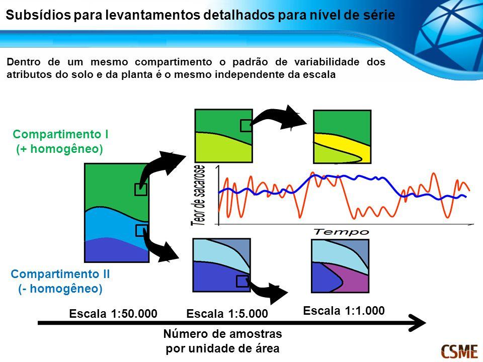 Compartimento II (- homogêneo) Compartimento I (+ homogêneo) Escala 1:50.000Escala 1:5.000 Escala 1:1.000 Número de amostras por unidade de área Dentr