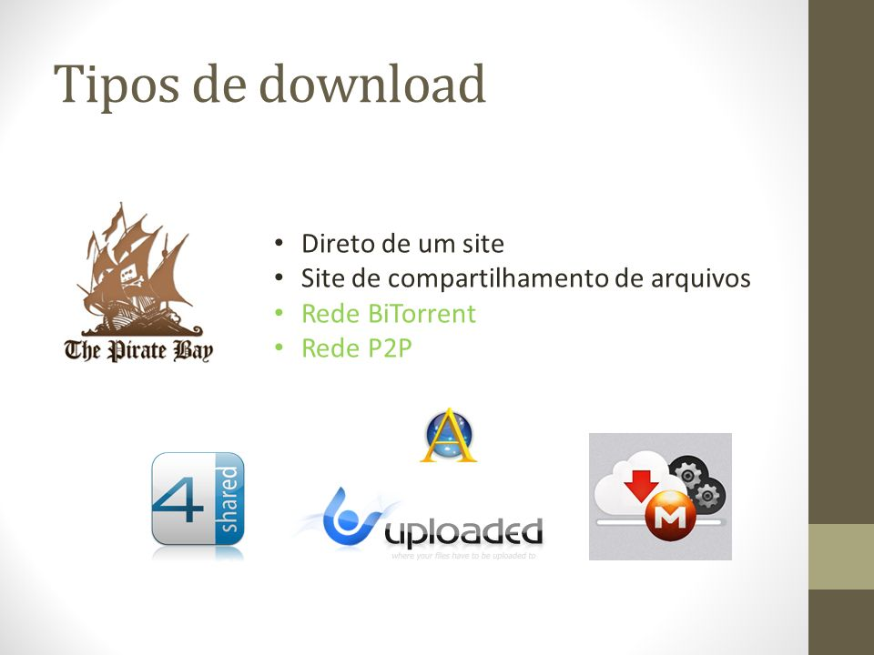 Tipos de download Direto de um site Site de compartilhamento de arquivos Rede BiTorrent Rede P2P
