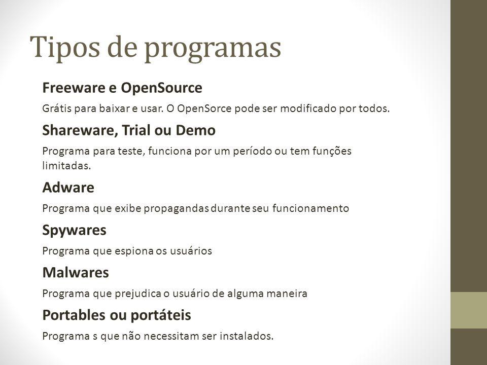 Tipos de programas Freeware e OpenSource Shareware, Trial ou Demo Adware Spywares Malwares Grátis para baixar e usar. O OpenSorce pode ser modificado