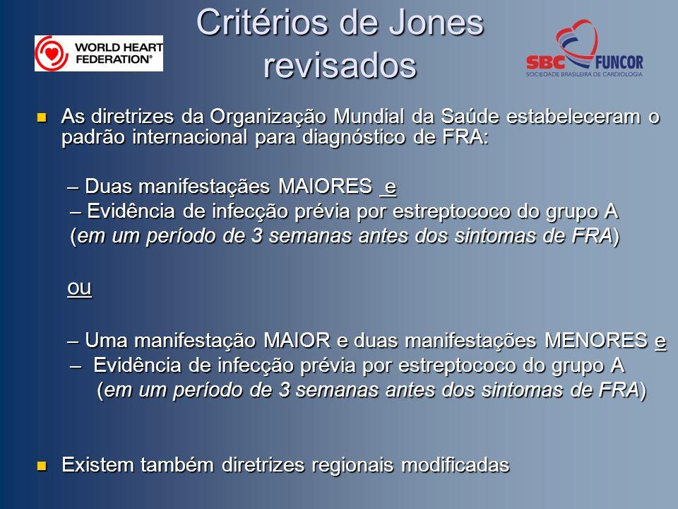 Critérios de Jones revisados As diretrizes da Organização Mundial da Saúde estabeleceram o padrão internacional para diagnóstico de FRA: As diretrizes