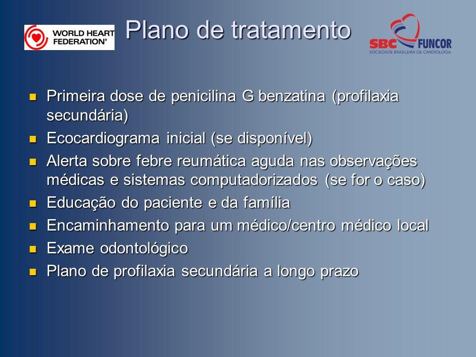 Plano de tratamento Primeira dose de penicilina G benzatina (profilaxia secundária) Primeira dose de penicilina G benzatina (profilaxia secundária) Ec