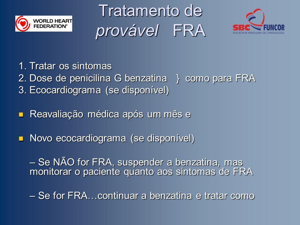 Tratamento de provável FRA 1. Tratar os sintomas 2. Dose de penicilina G benzatina } como para FRA 3. Ecocardiograma (se disponível) Reavaliação médic