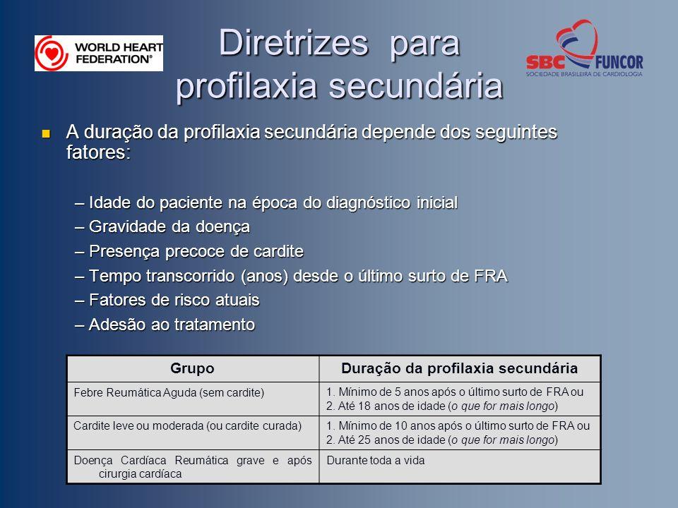 Diretrizes para profilaxia secundária A duração da profilaxia secundária depende dos seguintes fatores: A duração da profilaxia secundária depende dos