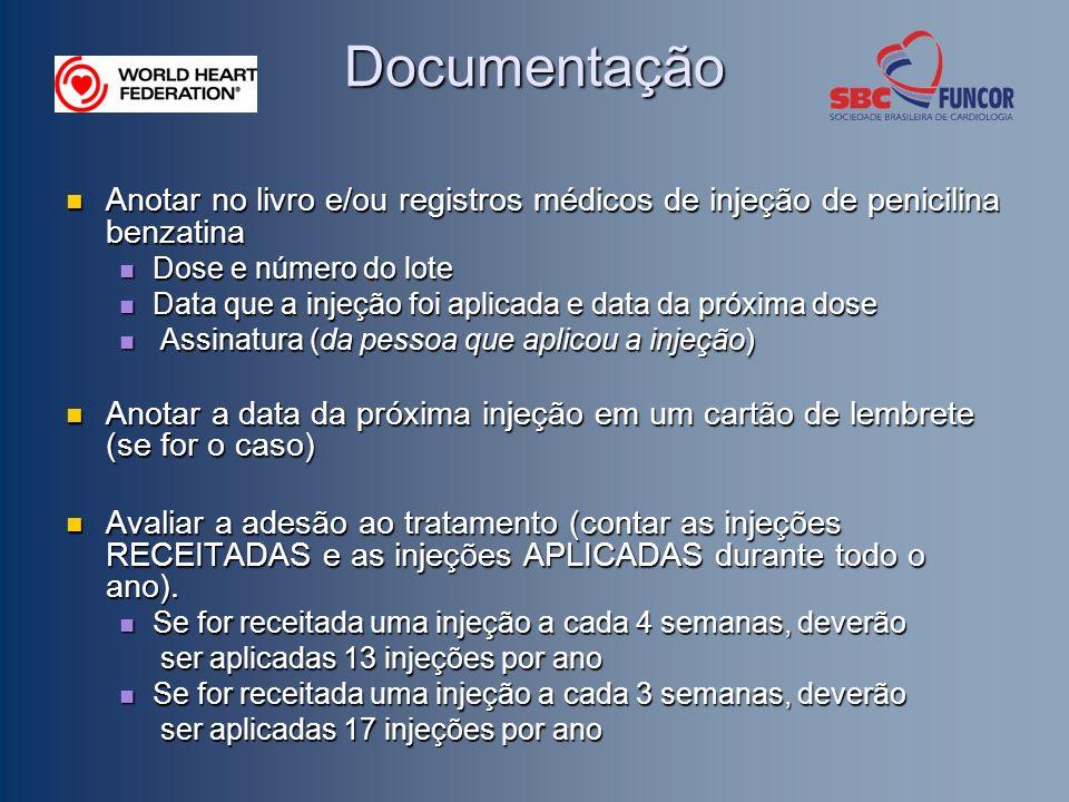 Documentação Anotar no livro e/ou registros médicos de injeção de penicilina benzatina Anotar no livro e/ou registros médicos de injeção de penicilina