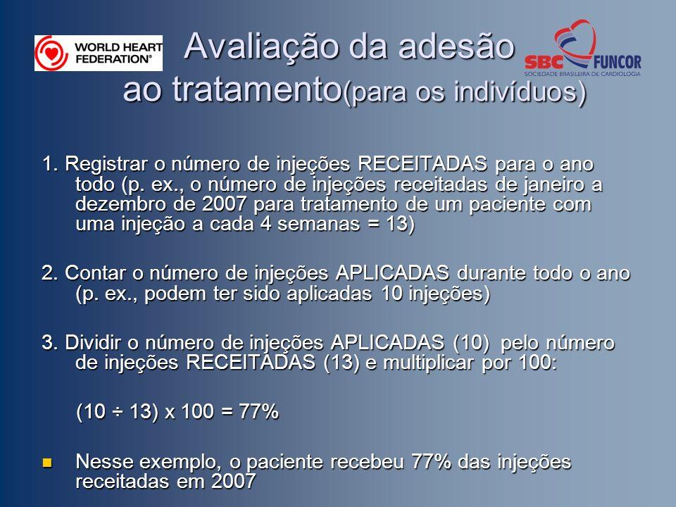Avaliação da adesão ao tratamento (para os indivíduos) 1. Registrar o número de injeções RECEITADAS para o ano todo (p. ex., o número de injeções rece