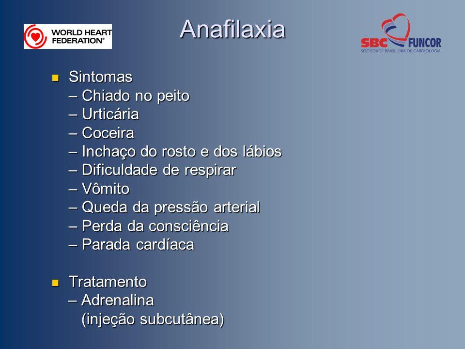 Anafilaxia Sintomas Sintomas – Chiado no peito – Urticária – Coceira – Inchaço do rosto e dos lábios – Dificuldade de respirar – Vômito – Queda da pressão arterial – Perda da consciência – Parada cardíaca Tratamento Tratamento – Adrenalina – Adrenalina (injeção subcutânea) (injeção subcutânea)