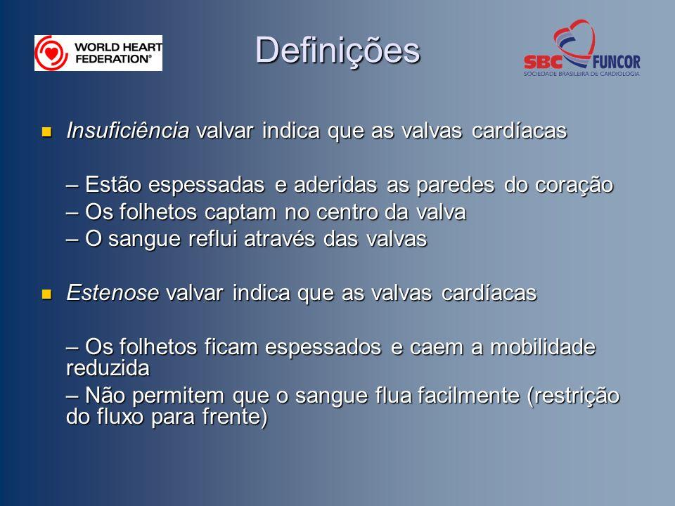 Definições Insuficiência valvar indica que as valvas cardíacas Insuficiência valvar indica que as valvas cardíacas – Estão espessadas e aderidas as pa