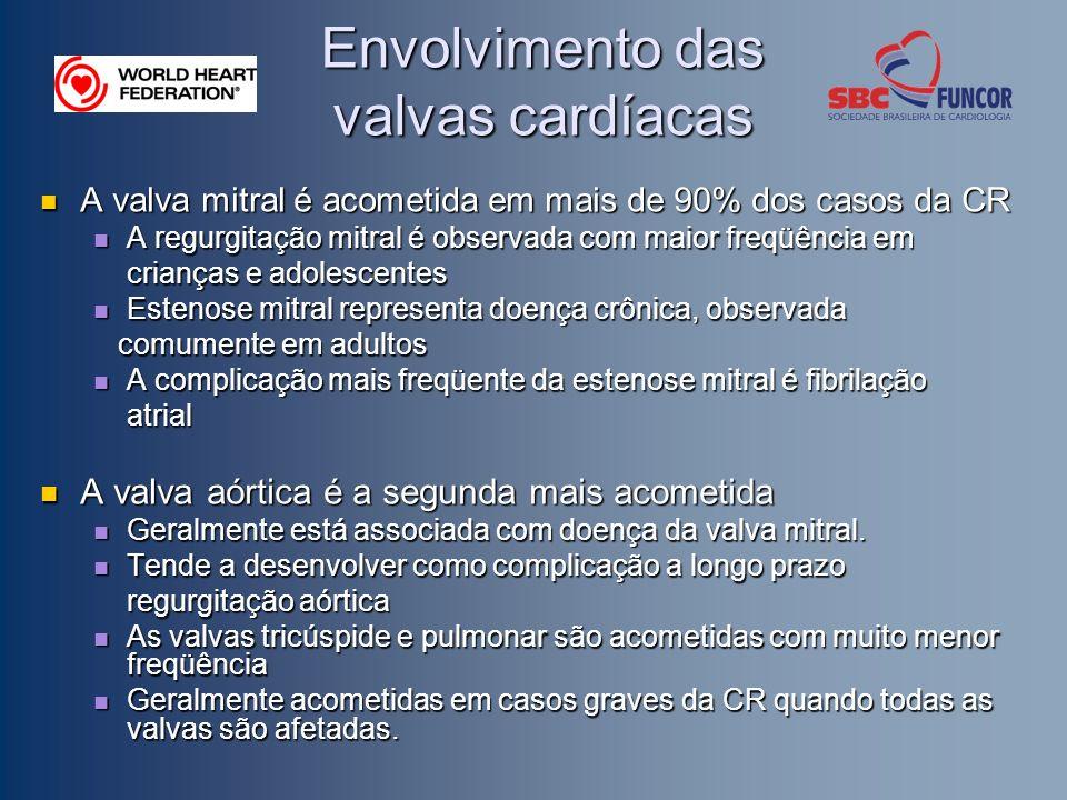 Envolvimento das valvas cardíacas A valva mitral é acometida em mais de 90% dos casos da CR A valva mitral é acometida em mais de 90% dos casos da CR A regurgitação mitral é observada com maior freqüência em A regurgitação mitral é observada com maior freqüência em crianças e adolescentes crianças e adolescentes Estenose mitral representa doença crônica, observada Estenose mitral representa doença crônica, observada comumente em adultos comumente em adultos A complicação mais freqüente da estenose mitral é fibrilação A complicação mais freqüente da estenose mitral é fibrilação atrial atrial A valva aórtica é a segunda mais acometida A valva aórtica é a segunda mais acometida Geralmente está associada com doença da valva mitral.