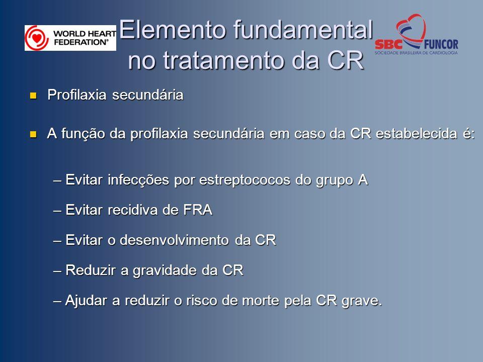 Elemento fundamental no tratamento da CR Profilaxia secundária Profilaxia secundária A função da profilaxia secundária em caso da CR estabelecida é: A