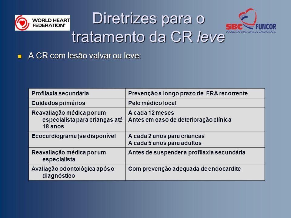 Diretrizes para o tratamento da CR leve A CR com lesão valvar ou leve: A CR com lesão valvar ou leve: Profilaxia secundáriaPrevenção a longo prazo de