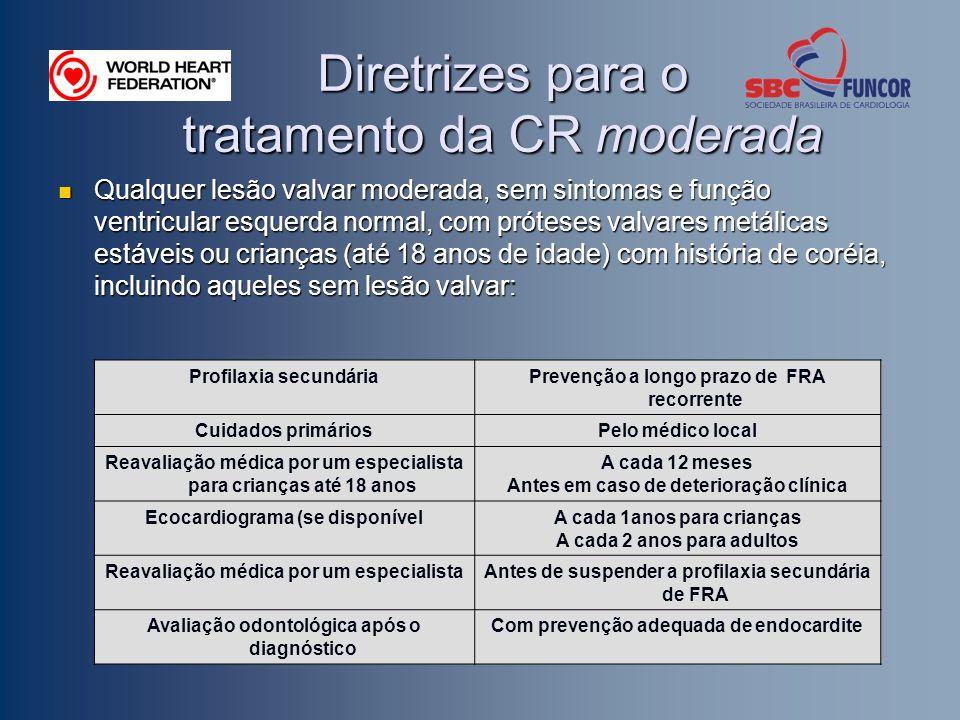 Diretrizes para o tratamento da CR moderada Qualquer lesão valvar moderada, sem sintomas e função ventricular esquerda normal, com próteses valvares m