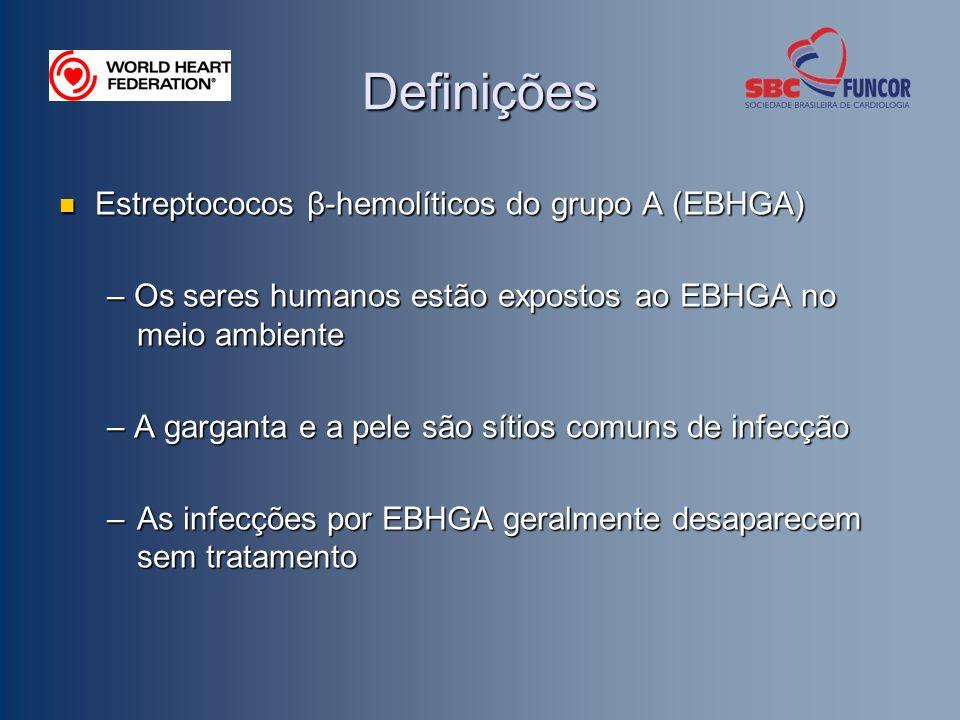 Definições Febre reumática aguda (FRA) Febre reumática aguda (FRA) – Resposta auto-imune tardia após infecção por EBHGA não- tratada – Surge depois que a infecção por EBHGA foi debelada – Geralmente afeta as articulações, o coração, o sistema nervoso central e a pele – É mais freqüente na faixa etária entre 5 a 15 anos – Pode reaparecer após infecções subseqüentes por EBHGA não- tratadas Doença Cardíaca Reumática (DCR) Doença Cardíaca Reumática (DCR) – Dano residual nas valvas cardíacas após FRA recorrente – As valvas cardíacas ficam lesadas e espessadas – Vazamento de sangue (o sangue reflui através das valvas)