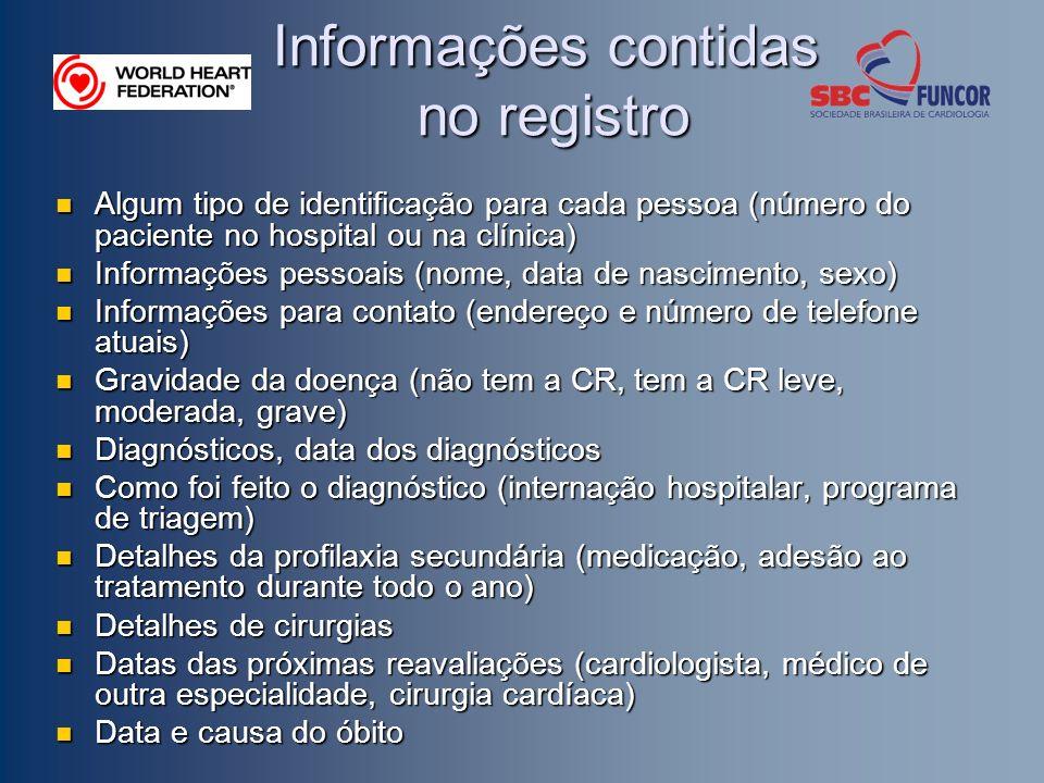 Informações contidas no registro Algum tipo de identificação para cada pessoa (número do paciente no hospital ou na clínica) Algum tipo de identificaç
