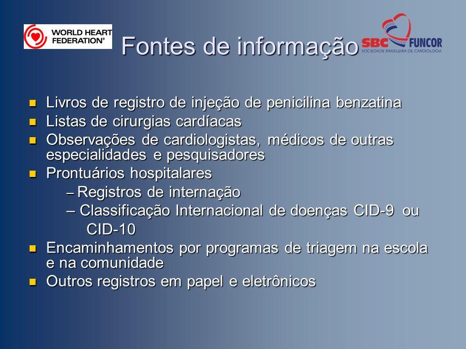 Fontes de informação Livros de registro de injeção de penicilina benzatina Livros de registro de injeção de penicilina benzatina Listas de cirurgias c
