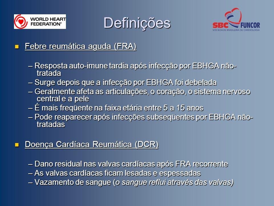 Definições Febre reumática aguda (FRA) Febre reumática aguda (FRA) – Resposta auto-imune tardia após infecção por EBHGA não- tratada – Surge depois qu