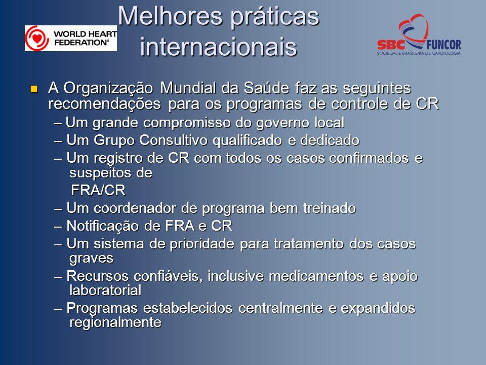 Melhores práticas internacionais A Organização Mundial da Saúde faz as seguintes recomendações para os programas de controle de CR A Organização Mundi