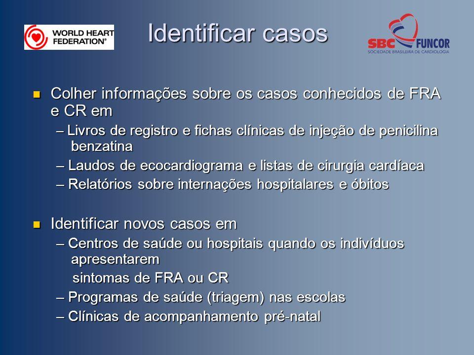Identificar casos Colher informações sobre os casos conhecidos de FRA e CR em Colher informações sobre os casos conhecidos de FRA e CR em – Livros de
