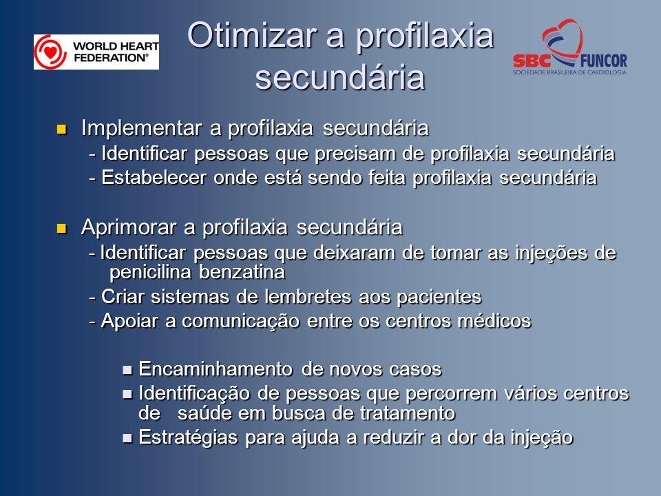 Otimizar a profilaxia secundária Implementar a profilaxia secundária Implementar a profilaxia secundária - Identificar pessoas que precisam de profilaxia secundária - Estabelecer onde está sendo feita profilaxia secundária Aprimorar a profilaxia secundária Aprimorar a profilaxia secundária - Identificar pessoas que deixaram de tomar as injeções de penicilina benzatina - Criar sistemas de lembretes aos pacientes - Apoiar a comunicação entre os centros médicos Encaminhamento de novos casos Encaminhamento de novos casos Identificação de pessoas que percorrem vários centros de saúde em busca de tratamento Identificação de pessoas que percorrem vários centros de saúde em busca de tratamento Estratégias para ajuda a reduzir a dor da injeção Estratégias para ajuda a reduzir a dor da injeção