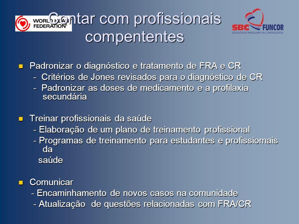 Contar com profissionais compententes Padronizar o diagnóstico e tratamento de FRA e CR Padronizar o diagnóstico e tratamento de FRA e CR - Critérios