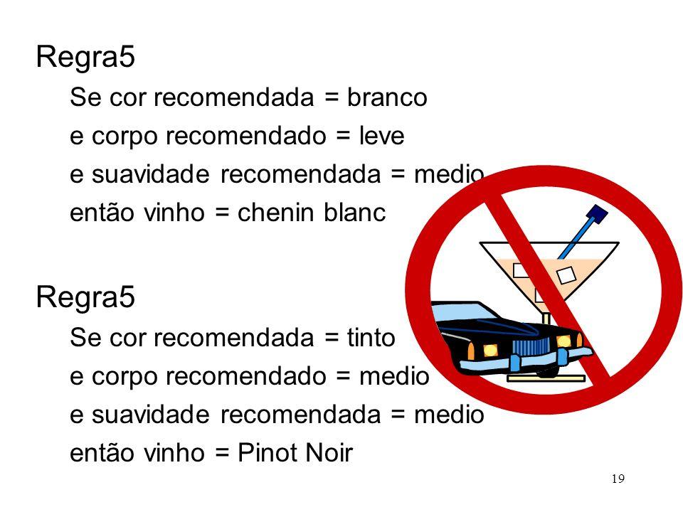 19 Regra5 Se cor recomendada = branco e corpo recomendado = leve e suavidade recomendada = medio então vinho = chenin blanc Regra5 Se cor recomendada = tinto e corpo recomendado = medio e suavidade recomendada = medio então vinho = Pinot Noir