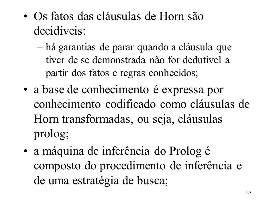 23 Os fatos das cláusulas de Horn são decidíveis: –há garantias de parar quando a cláusula que tiver de se demonstrada não for dedutível a partir dos fatos e regras conhecidos; a base de conhecimento é expressa por conhecimento codificado como cláusulas de Horn transformadas, ou seja, cláusulas prolog; a máquina de inferência do Prolog é composto do procedimento de inferência e de uma estratégia de busca;