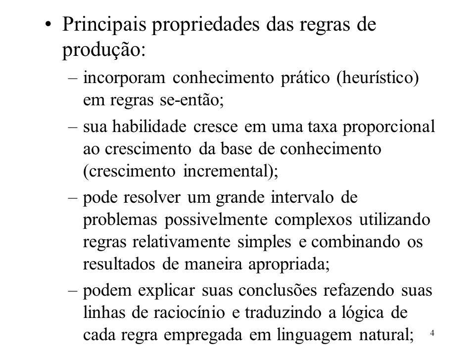 4 Principais propriedades das regras de produção: –incorporam conhecimento prático (heurístico) em regras se-então; –sua habilidade cresce em uma taxa