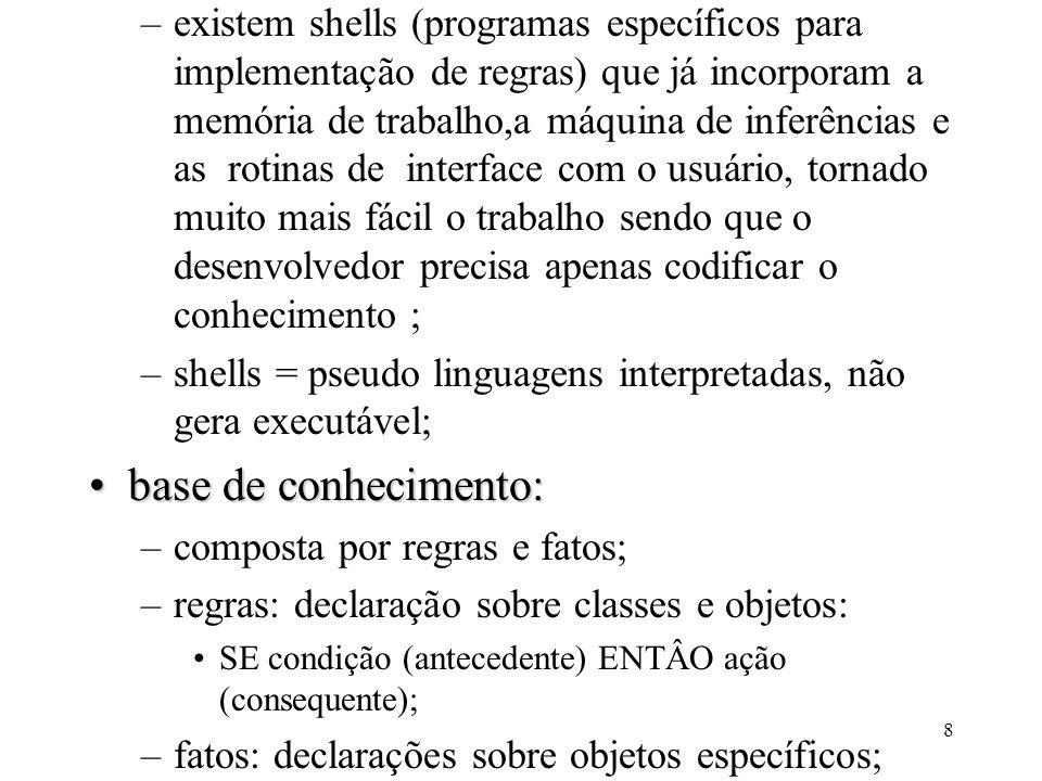 8 –existem shells (programas específicos para implementação de regras) que já incorporam a memória de trabalho,a máquina de inferências e as rotinas d