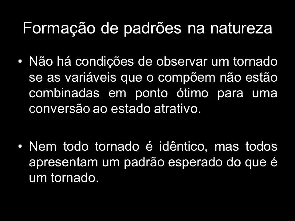 Formação de padrões na natureza Não há condições de observar um tornado se as variáveis que o compõem não estão combinadas em ponto ótimo para uma conversão ao estado atrativo.