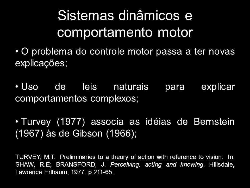 Sistemas dinâmicos e comportamento motor O problema do controle motor passa a ter novas explicações; Uso de leis naturais para explicar comportamentos complexos; Turvey (1977) associa as idéias de Bernstein (1967) às de Gibson (1966); TURVEY, M.T.