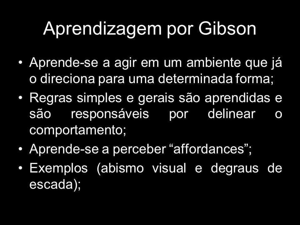 Aprendizagem por Gibson Aprende-se a agir em um ambiente que já o direciona para uma determinada forma; Regras simples e gerais são aprendidas e são responsáveis por delinear o comportamento; Aprende-se a perceber affordances; Exemplos (abismo visual e degraus de escada);