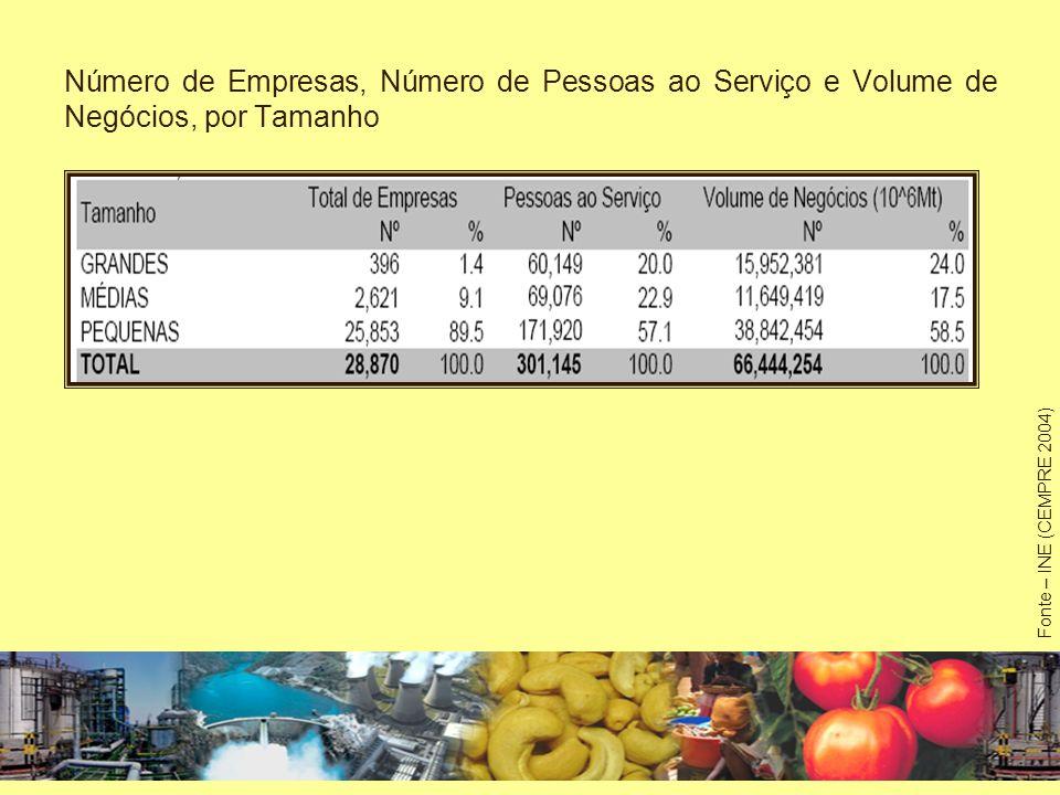 Número de Empresas, Número de Pessoas ao Serviço e Volume de Negócios, por Tamanho Fonte – INE (CEMPRE 2004)