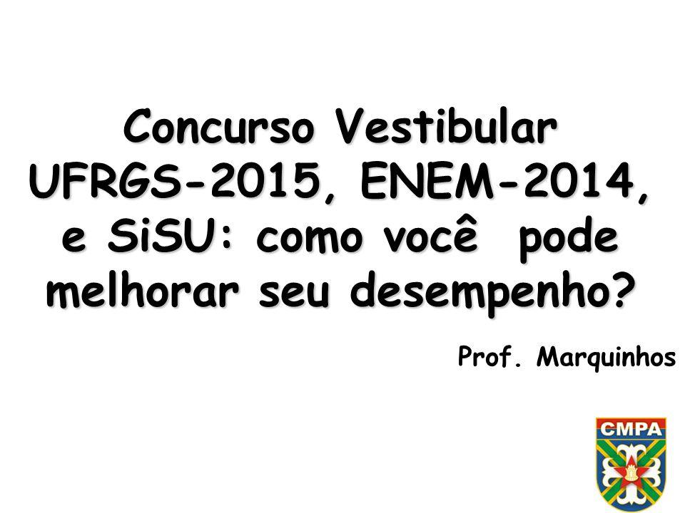 Concurso Vestibular UFRGS-2015, ENEM-2014, e SiSU: como você pode melhorar seu desempenho? Prof. Marquinhos