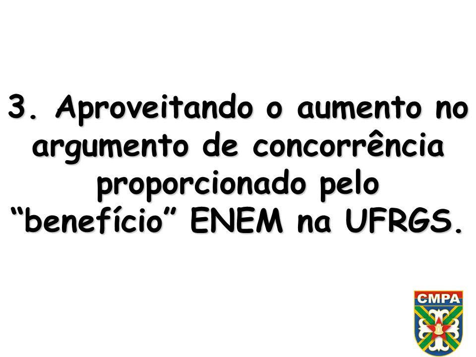 3. Aproveitando o aumento no argumento de concorrência proporcionado pelo benefício ENEM na UFRGS.