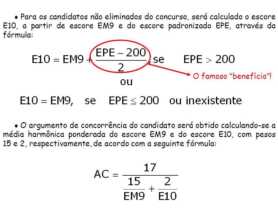 Para os candidatos não eliminados do concurso, será calculado o escore E10, a partir de escore EM9 e do escore padronizado EPE, através da fórmula: O