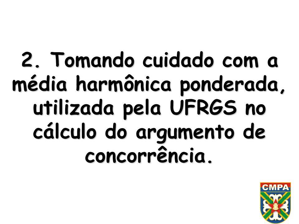 2. Tomando cuidado com a média harmônica ponderada, utilizada pela UFRGS no cálculo do argumento de concorrência.