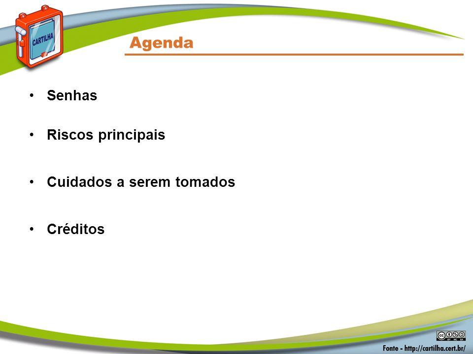 Agenda Senhas Riscos principais Cuidados a serem tomados Créditos
