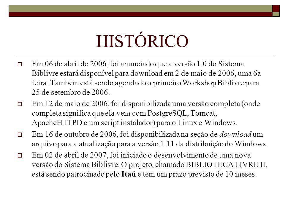 HISTÓRICO Em 06 de abril de 2006, foi anunciado que a versão 1.0 do Sistema Biblivre estará disponível para download em 2 de maio de 2006, uma 6a feir
