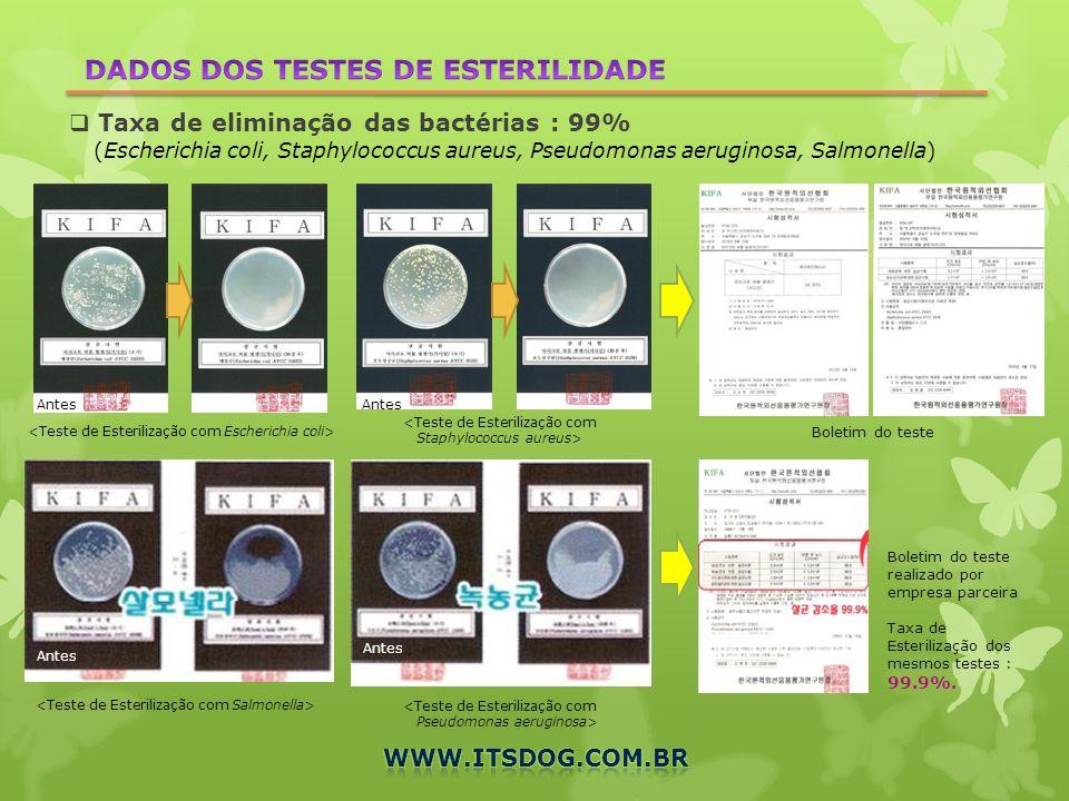 Taxa de eliminação das bactérias : 99% (Escherichia coli, Staphylococcus aureus, Pseudomonas aeruginosa, Salmonella) <Teste de Esterilização com Staph