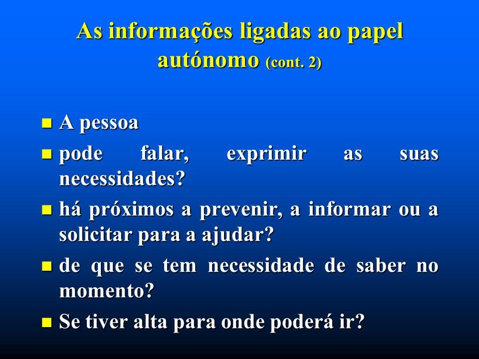 As informações ligadas ao papel autónomo (cont. 2) A pessoa A pessoa pode falar, exprimir as suas necessidades? pode falar, exprimir as suas necessida