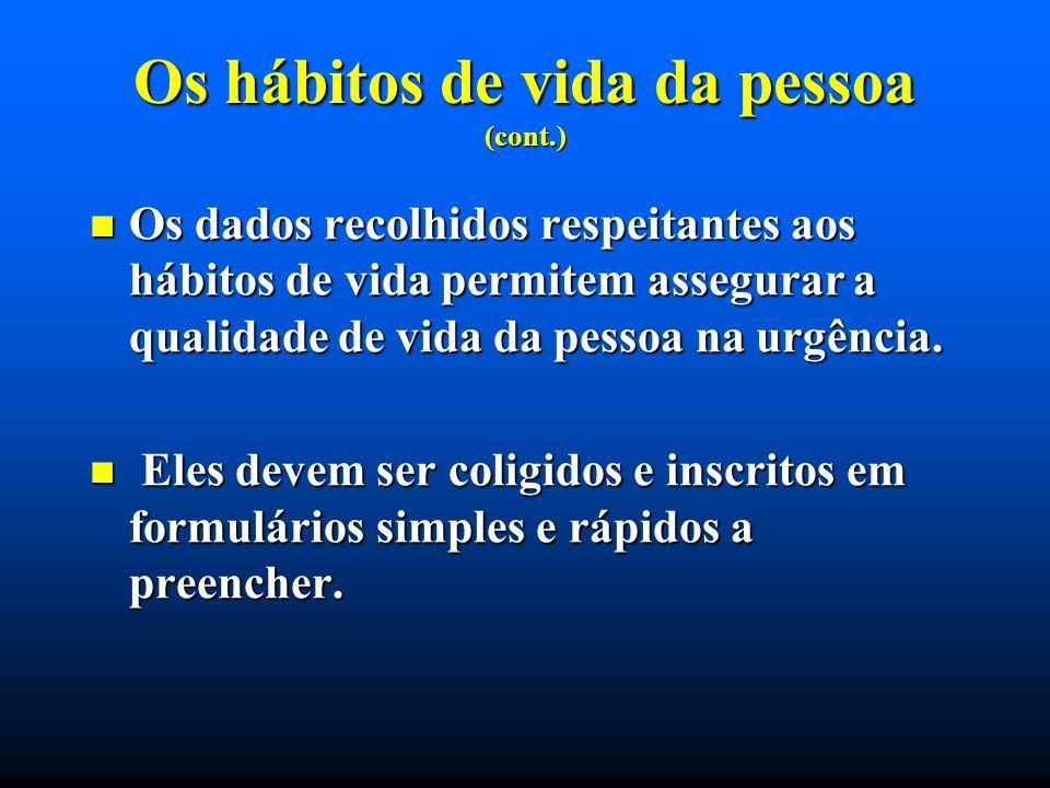 Os hábitos de vida da pessoa (cont.) Os dados recolhidos respeitantes aos hábitos de vida permitem assegurar a qualidade de vida da pessoa na urgência