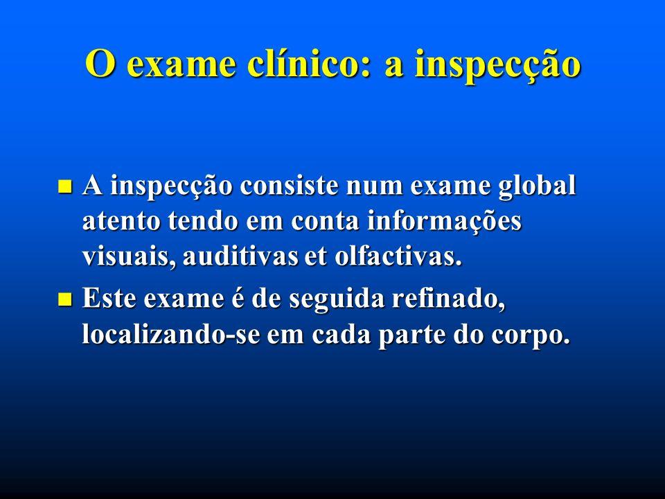 O exame clínico: a inspecção A inspecção consiste num exame global atento tendo em conta informações visuais, auditivas et olfactivas. A inspecção con
