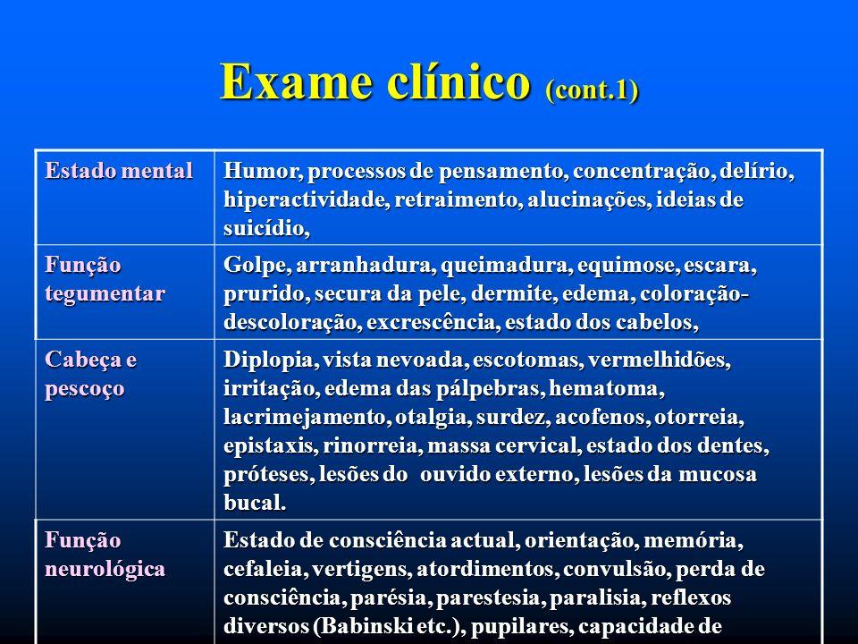Exame clínico (cont.1) Estado mental Humor, processos de pensamento, concentração, delírio, hiperactividade, retraimento, alucinações, ideias de suicí