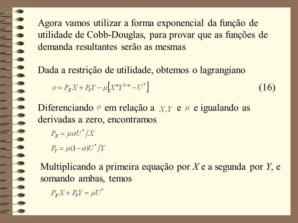 Agora vamos utilizar a forma exponencial da função de utilidade de Cobb-Douglas, para provar que as funções de demanda resultantes serão as mesmas Dad