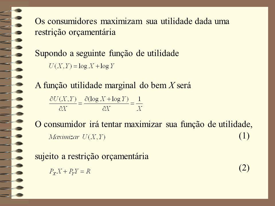 Os consumidores maximizam sua utilidade dada uma restrição orçamentária Supondo a seguinte função de utilidade A função utilidade marginal do bem X se
