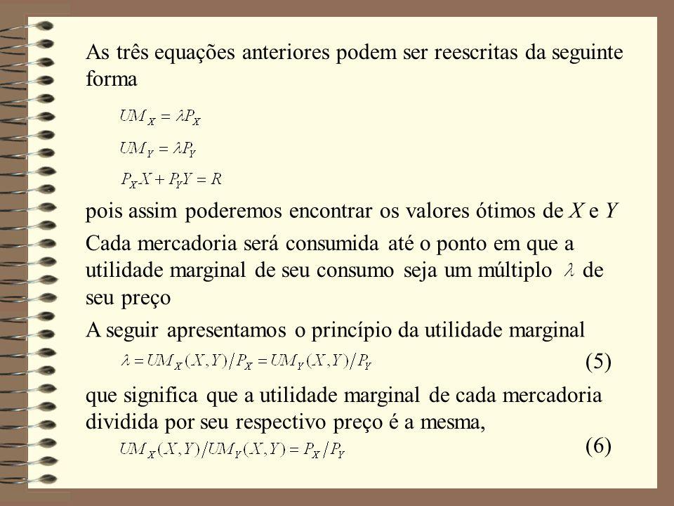 Considerando um nível fixo de utilidade U*, a curva de indiferença correspondente a tal nível de utilidade é A variação total na utilidade deve ser igual a zero, assim Reordenando os termos, temos TMS YX é a taxa marginal de substituição de Y por X, que representa a razão entre utilidades marginais do consumidor, e é igual a razão entre os preços (7) (8)