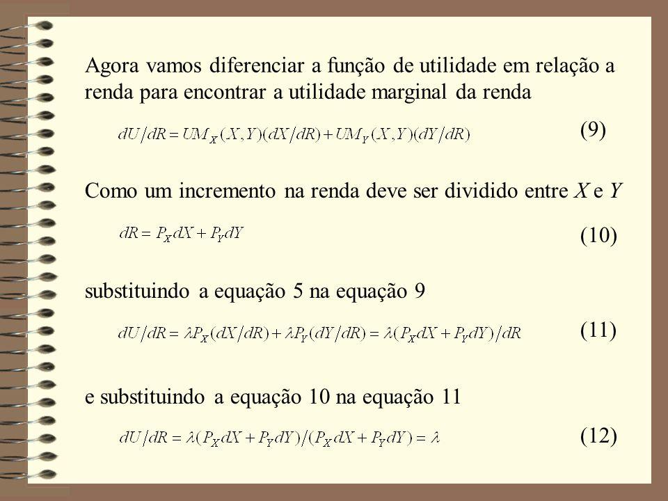 Vamos supor uma função de utilidade de Cobb-Douglas, que pode ser escrita das seguintes formas Exemplo Dada a restrição orçamentária usual, escrevemos o lagrangiano Diferenciando em relação a e e igualando as derivadas a zero, encontramos