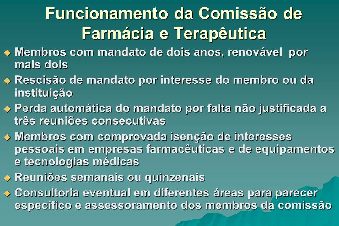 Funcionamento da Comissão de Farmácia e Terapêutica Membros com mandato de dois anos, renovável por mais dois Membros com mandato de dois anos, renová