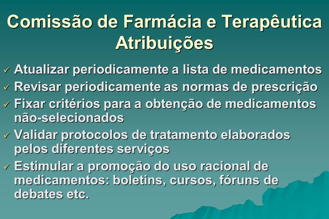 Comissão de Farmácia e Terapêutica Atribuições Atualizar periodicamente a lista de medicamentos Atualizar periodicamente a lista de medicamentos Revis