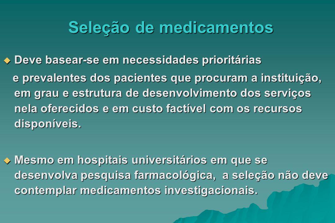 Seleção de medicamentos Deve basear-se em necessidades prioritárias Deve basear-se em necessidades prioritárias e prevalentes dos pacientes que procur